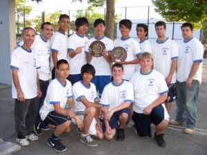 St. Francis Prep's 2011 Undefeated CHSAA City Champions display their championship plaques after defeating Molloy 3-0 at Orchard Beach on June 6. Since 2003, this year is the 5th year the SFP JV team won all games (39) played. The win is the 8th City Championship and the 7th Consecutive Undefeated season. Photo by Mr. Frank Milano.